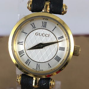 Vintage Gucci Watch Gray & White Dial Black Strap